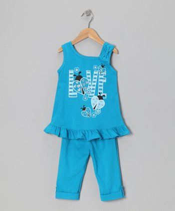 Turquoise 'Love' Tunic & Leggings - Toddler & Girls