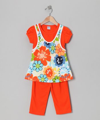 Orange Floral Layered Tunic & Leggings - Toddler & Girls