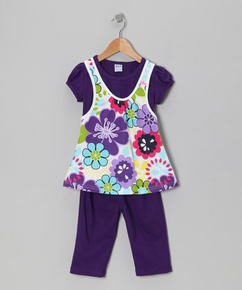 Purple Floral Layered Tunic & Leggings - Toddler & Girls