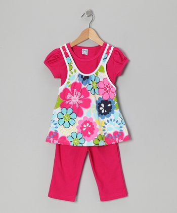 Raspberry Floral Layered Tunic & Leggings - Toddler & Girls