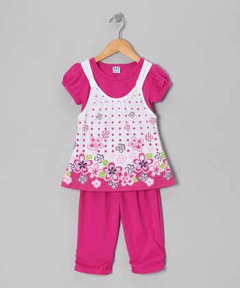 Fuchsia Floral Layered Tunic & Leggings - Toddler & Girls