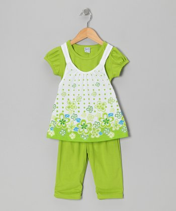 Lime Floral Layered Tunic & Leggings - Toddler & Girls