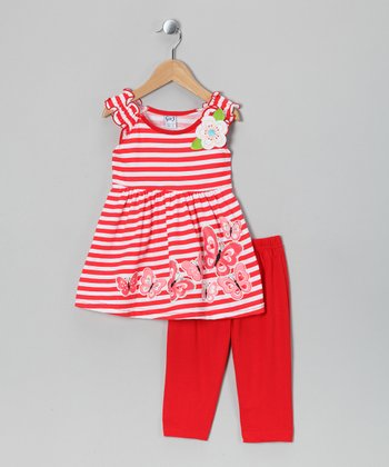 Red Stripe Top & Capri Pants - Infant & Girls
