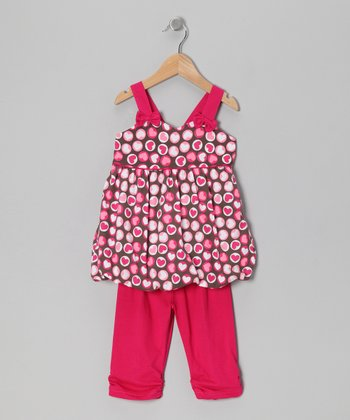 Fuchsia Heart Polka Dot Tunic & Leggings - Toddler & Girls