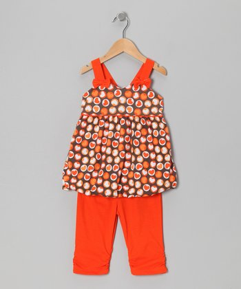 Orange Heart Polka Dot Tunic & Leggings - Toddler & Girls