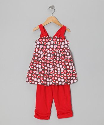 Red Heart Polka Dot Tunic & Leggings - Toddler & Girls
