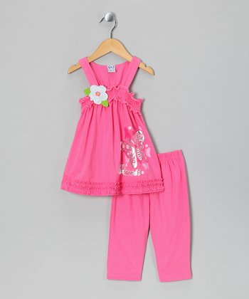 Pink Flower Tank & Capri Pants - Toddler & Girls
