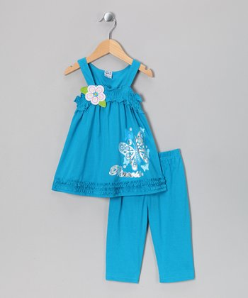 Turquoise Flower Tank & Capri Pants - Toddler & Girls