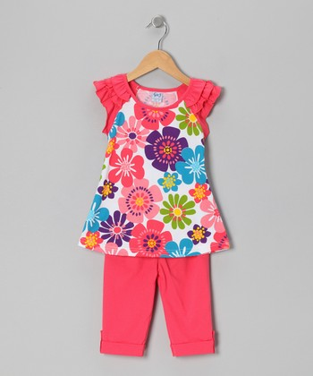 Coral Daisy Tunic & Leggings - Infant, Toddler & Girls