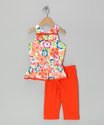 Orange Floral Tunic & Capri Leggings - Infant, Toddler & Girls