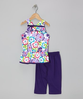 Purple Floral Tunic & Capri Leggings - Infant, Toddler & Girls