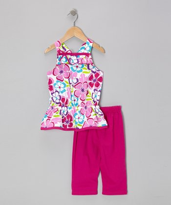 Raspberry Floral Tunic & Capri Leggings - Infant, Toddler & Girls