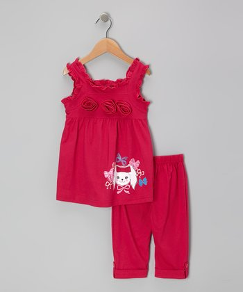 Fuchsia Rosette Tunic & Capri Leggings - Toddler & Girls
