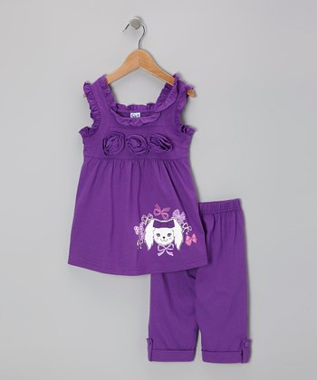 Purple Rosette Tunic & Capri Leggings - Toddler & Girls