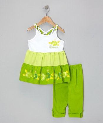 Lime 'Princess' Crisscross-Back Tunic & Capri Leggings - Toddler & Girls