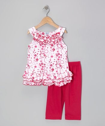 Fuchsia Ruffle Yoke Top & Capri Leggings - Toddler & Girls