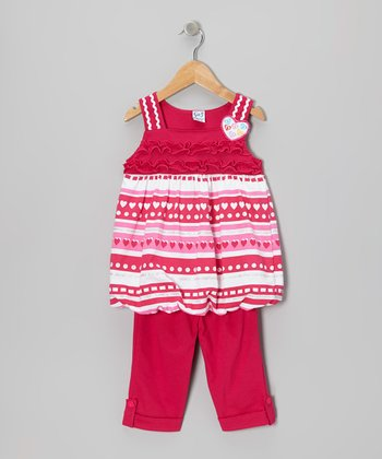 Fuchsia Heart Stripe Tunic & Capri Pants - Toddler & Girls