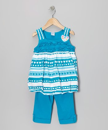 Turquoise Heart Stripe Tunic & Capri Pants - Toddler & Girls