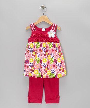 Fuchsia Floral Tunic & Capri Pants - Infant, Toddler & Girls