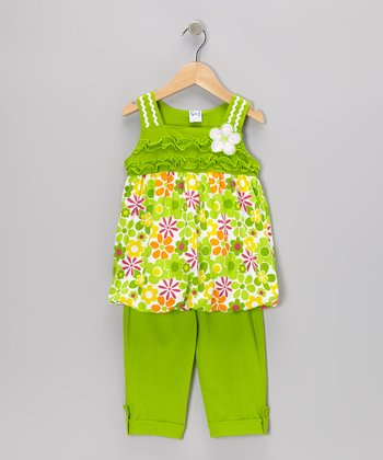 Lime Floral Tunic & Capri Pants - Infant, Toddler & Girls