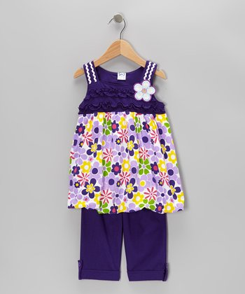 Purple Floral Tunic & Capri Pants - Infant, Toddler & Girls