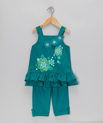 Teal Ruffle Tunic & Capri Pants - Toddler & Girls