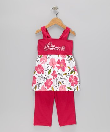Fuchsia 'Princess' Tie Tunic & Capri Pants - Toddler & Girls