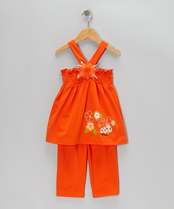 Orange Shirred Tank & Capri Pants - Toddler & Girls