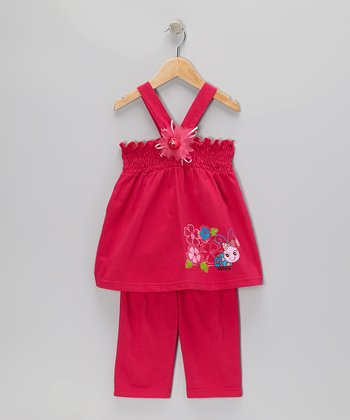 Raspberry Shirred Tank & Capri Pants - Toddler & Girls