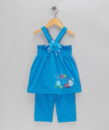Turquoise Shirred Tank & Capri Pants - Toddler & Girls