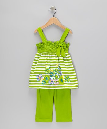 Lime Stripe Tunic & Capri Pants - Infant, Toddler & Girls