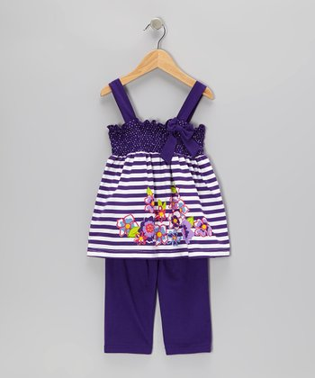 Purple Stripe Tunic & Capri Pants - Infant, Toddler & Girls