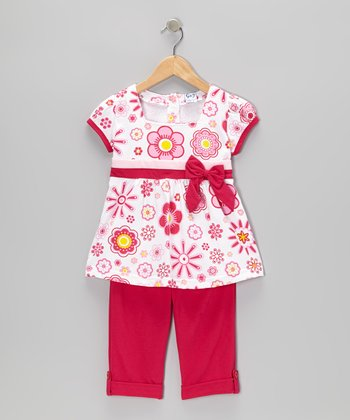 Fuchsia Floral Top & Capri Pants - Toddler & Girls