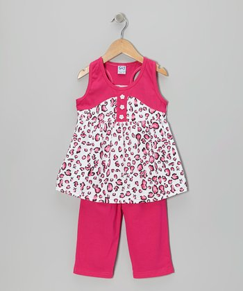Fuchsia Racerback Tunic & Capri Pants - Toddler & Girls