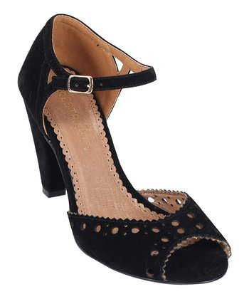 Black Eyelet Peep-Toe Pump