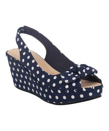 Navy Polka Dot Gorgeous Wedge