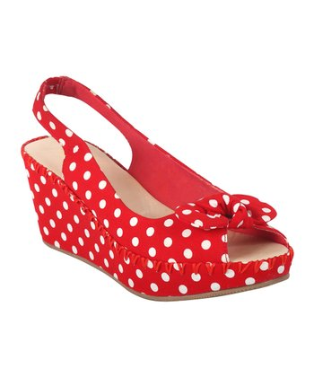 Red Polka Dot Gorgeous Wedge