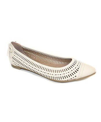 Beige New Wave Pointed Flat