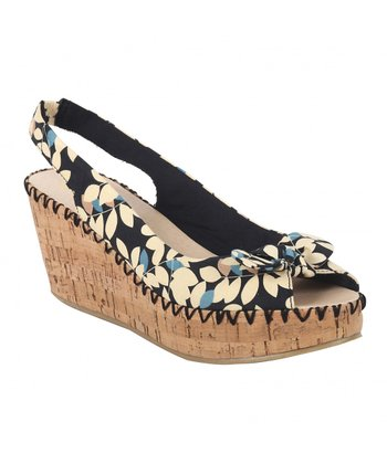 Black Palm Spring Slingback Wedge