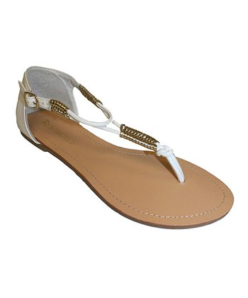 White Seattle T-Strap Sandal