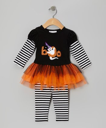 Black & White 'Boo' Tutu Tunic & Leggings - Girls