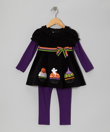 Black & Purple Cupcake Tunic & Leggings - Infant & Girls