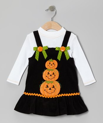 Black Pumpkin Corduroy Jumper & White Turtleneck - Girls