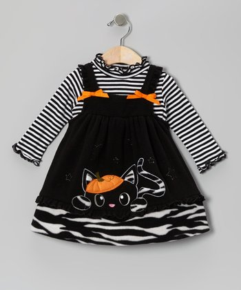 Black Pumpkin Kitty Dress & Stripe Tee - Girls
