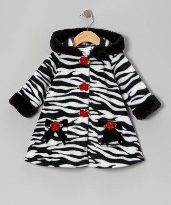 Zebra Fleece Hooded Swing Coat - Infant, Toddler & Girls
