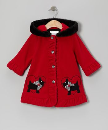 Red Scottie Fleece Hooded Swing Coat - Girls