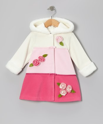 Pink Color Block Fleece Hooded Swing Coat - Infant