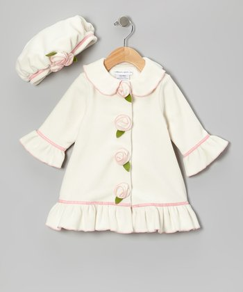 Ivory Frosted Cake Swing Coat & Mushroom Hat - Infant, Toddler & Girls