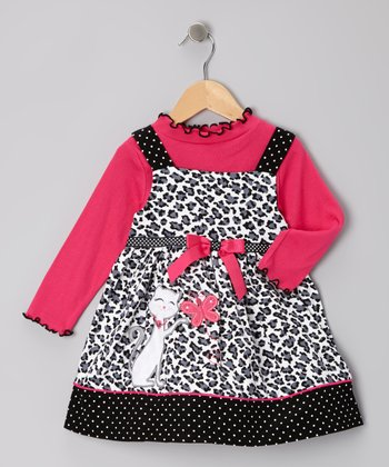 Pink Top & Black Kitty Corduroy Jumper - Toddler