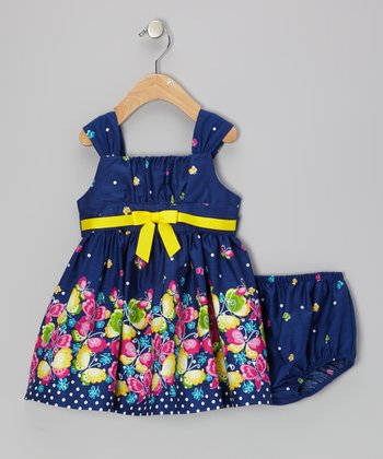 Navy Butterfly A-Line Dress & Diaper Cover - Infant